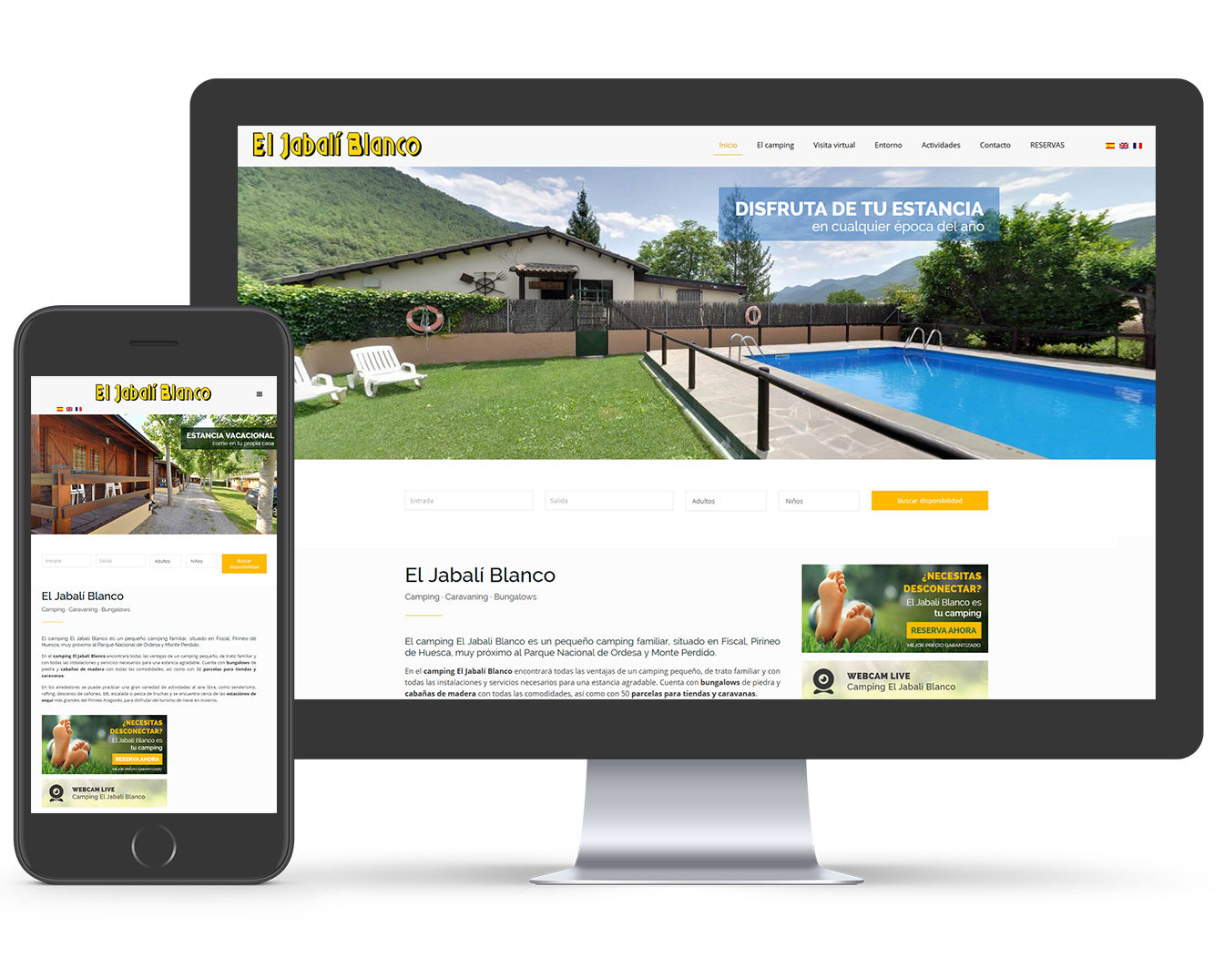 diseño web camping wordpress